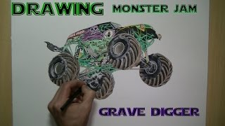 Speed Drawing Monster Jam - Grave Digger