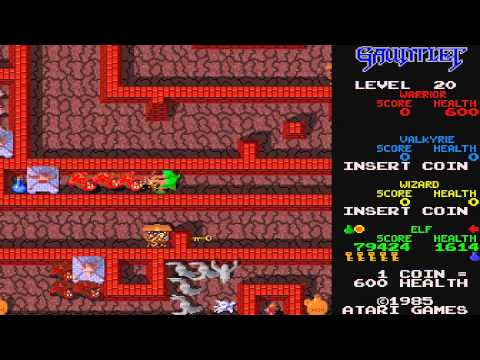 1985 Gauntlet Arcade Old School game Playthrough Retro games