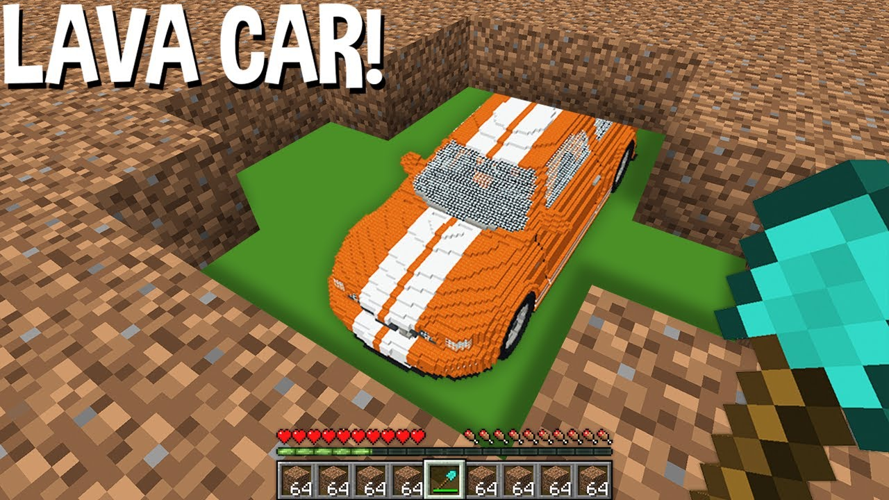 I just MINED DIRT but FOUND LAVA CAR underground in Minecraft ! SECRET CAR !