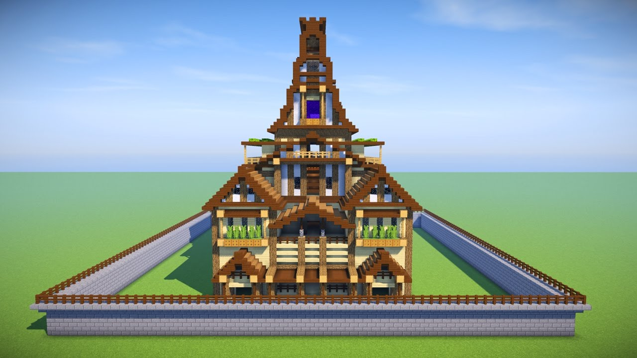 Minecraft: How to build a big wooden house! Tutorial - YouTube
