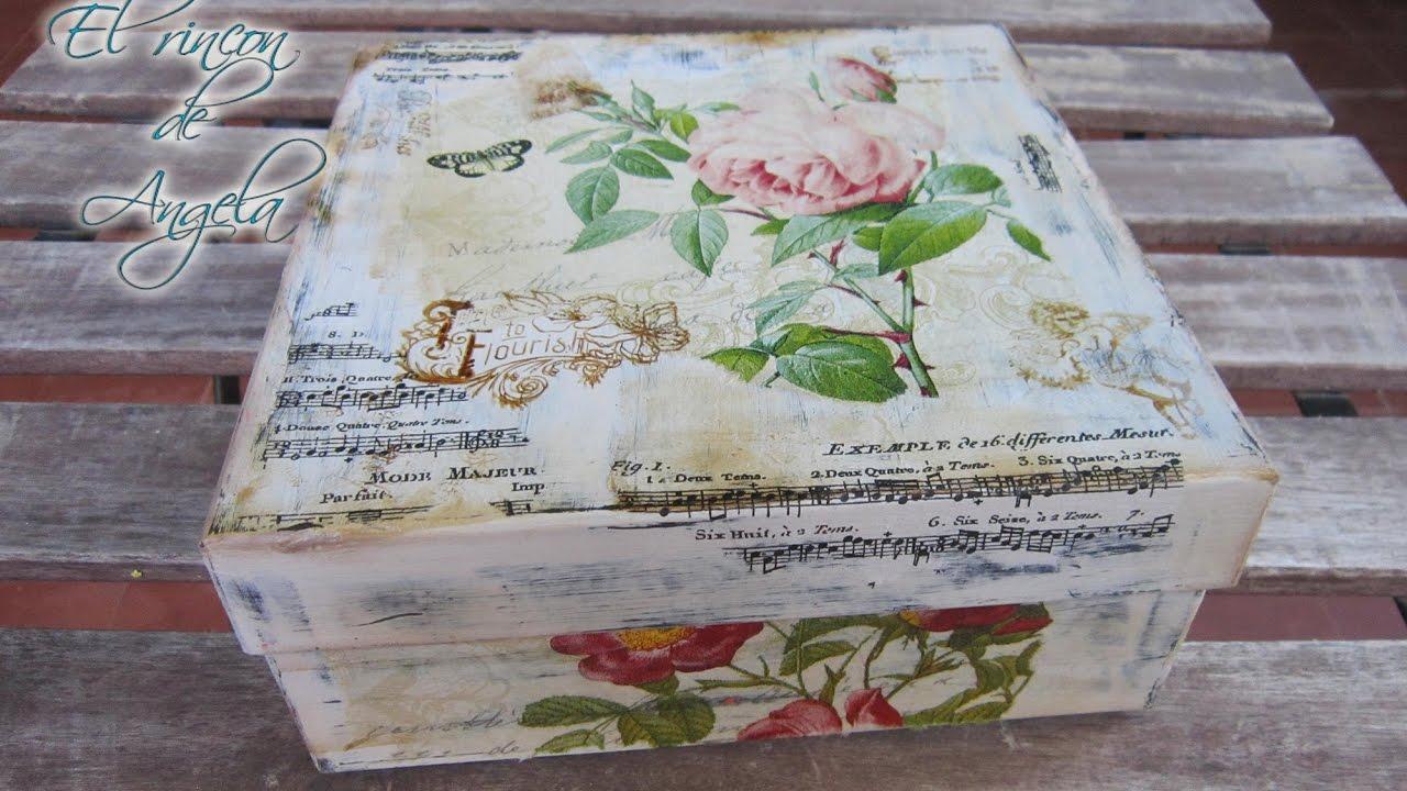 Decoupage decapado como reciclar una caja estilo shabby - Manualidades con cajas de madera ...