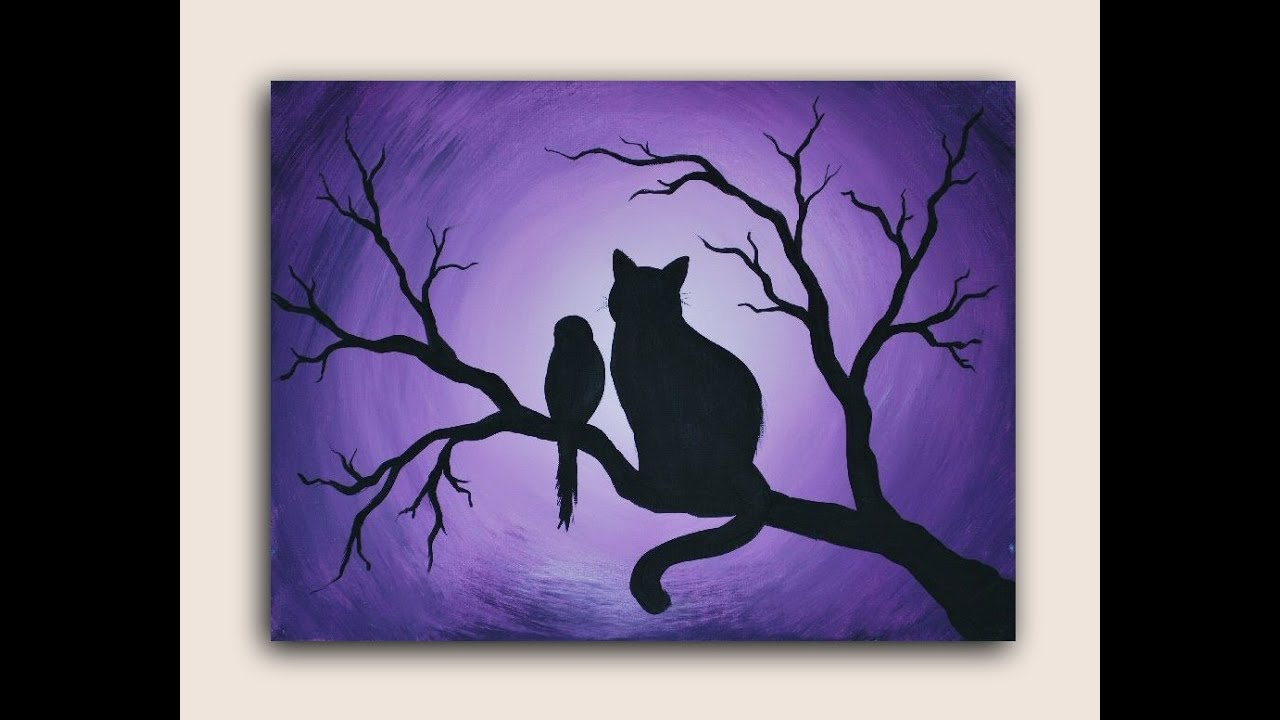 Cat And Bird Acrylic Painting On Canvas Silhouette