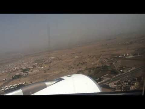 Amazing view of Yemen airplane Landing Sanaa airport الوصول الى مطار صنعاء الدولي - HD