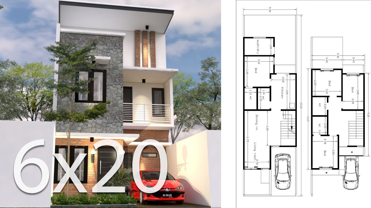 home blueprint design 6x20m house design 3d plan with 4 bedrooms youtube 9395