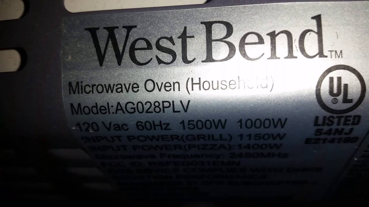 west bend microwave oven ag0289lv youtube