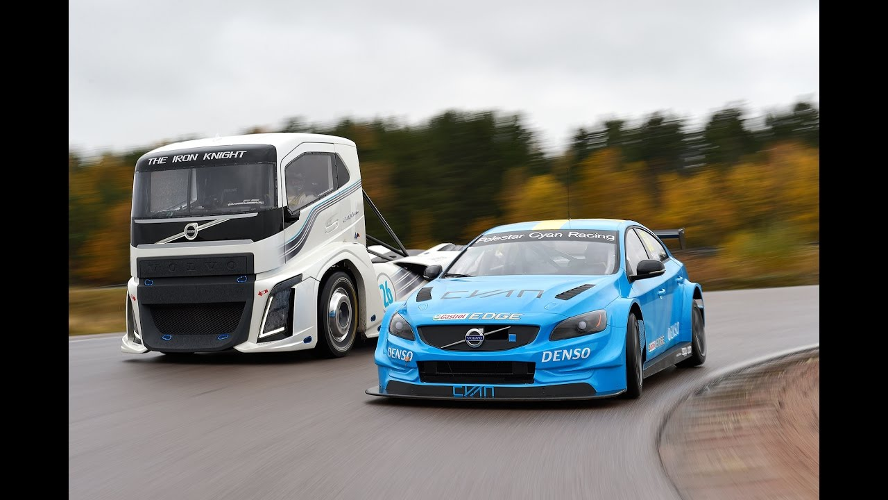 volvo trucks - the iron knight vs volvo s60 polestar - two titans in