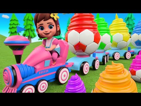 Little Baby Girl Teaching Numbers For Children With Soccer IceCreams Toy Train 3D Learning Kids Toys