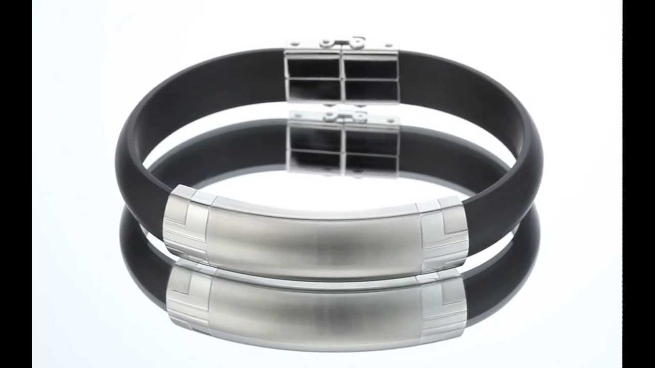 Wrist Hugging Stainless Steel Black Rubber Mens Golf Bracelet Sb4064 By  Peora Jewelry