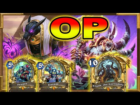 Hearthstone: Huge Minions With Quest N'Zoth Warlock | Stalagg and Feugen | Descent of Dragons | Wild