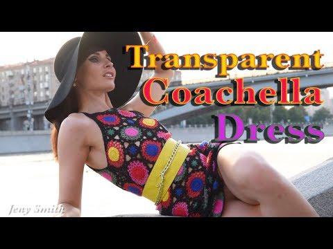 H&M Coachella Sunflower Transparent Dress At Photo Shoot