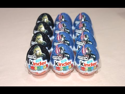 12 Surprise Eggs Kinder Surprise Star Wars unboxing - 2016 Kinder Surprise Eggs Unboxing