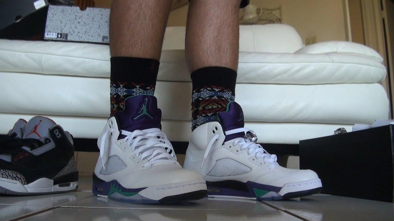 Jordan Retro 5 Grapes 2013 release on feet review - YouTubeJordan Grape 5 Black On Feet