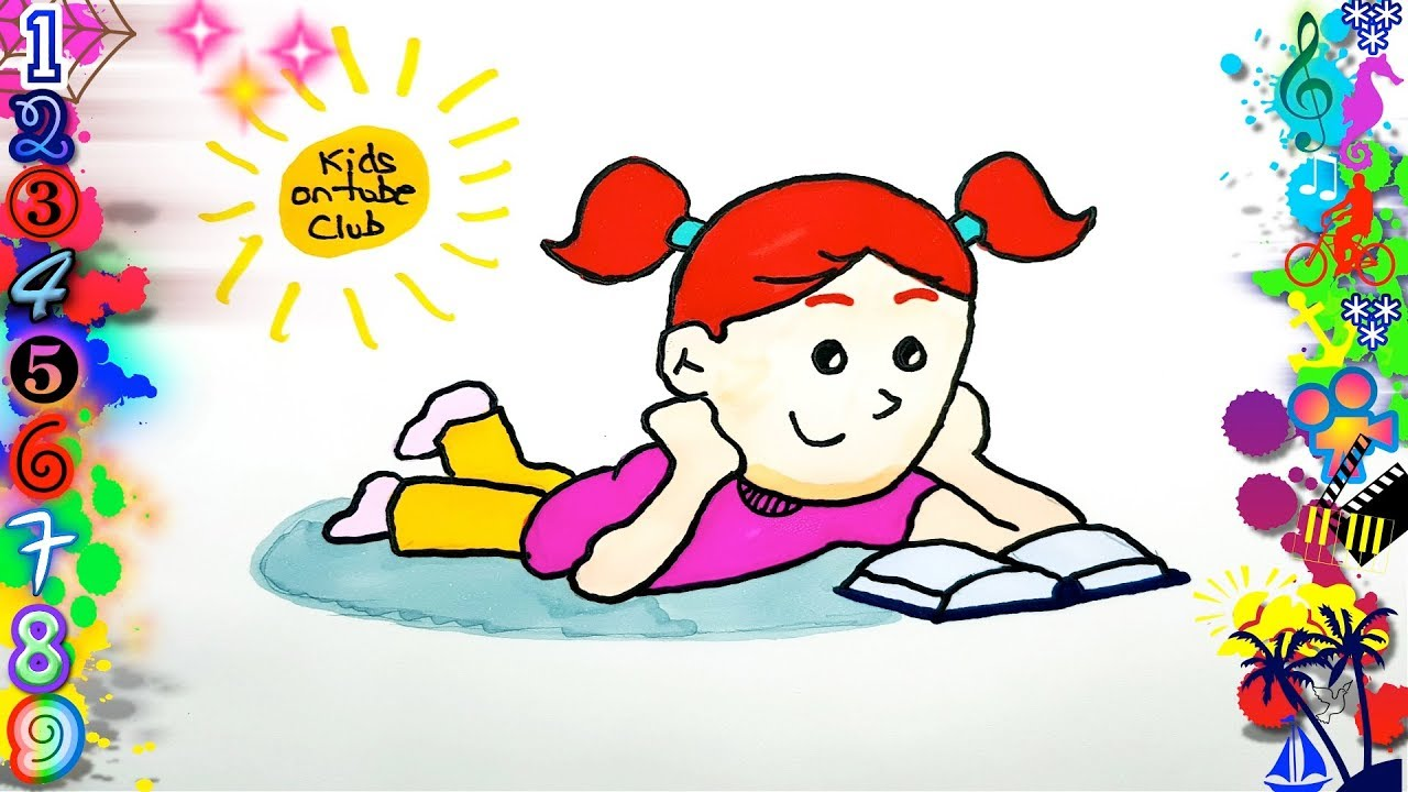 Easy Drawings For Children Girl Reading Drawings Drawings To Draw