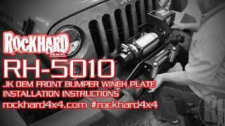 rh 5010 jeep jk winch mounting plate install instructions video by rock hard 4x4