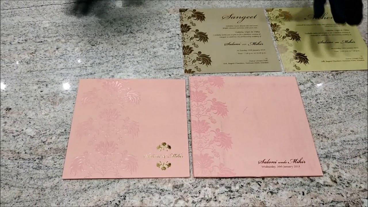 Gorgeous Peach Shading With Flower Theme Wedding Invitation Card ...