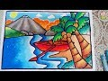 Cara MUDAH menggambar dan mewarnai pemandangan pantai dengan gradasi warna oil pastel