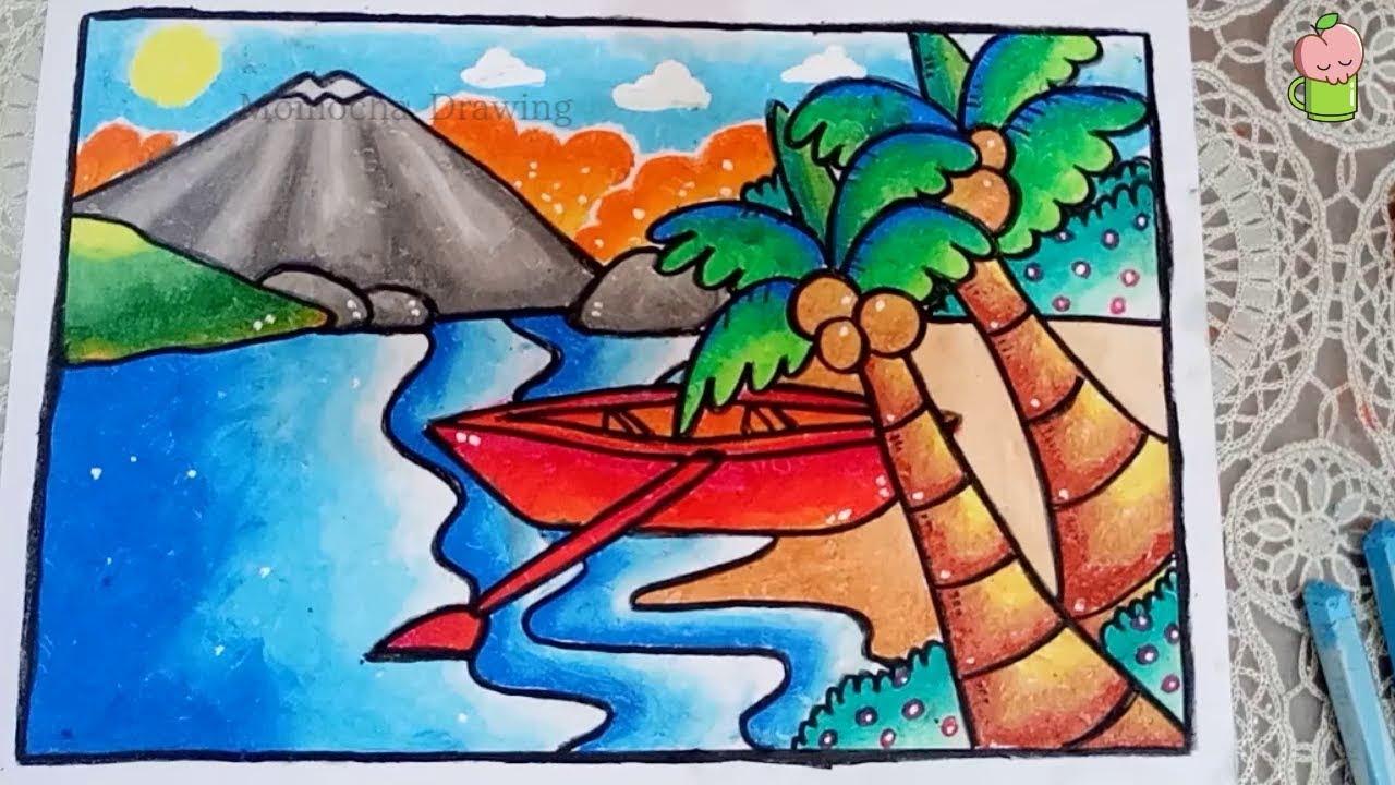Cara Mudah Menggambar Dan Mewarnai Pemandangan Pantai Dengan