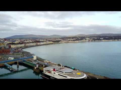 DJI Mavic drone flight over Douglas Harbor and Douglas Bay in the Isle of Man