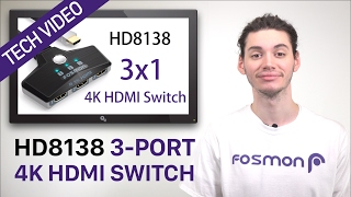3-Port HDMI Switch, Fosmon Ultra HD 4K 1080p Wall Mountable HDMI Switcher UHD TV