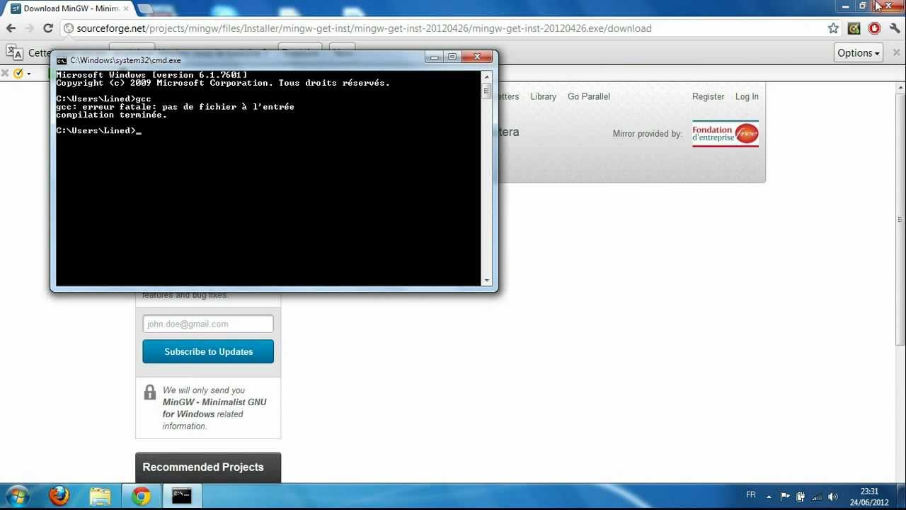 Installation de GCC et Compilation en ligne de commande sous Windows 7