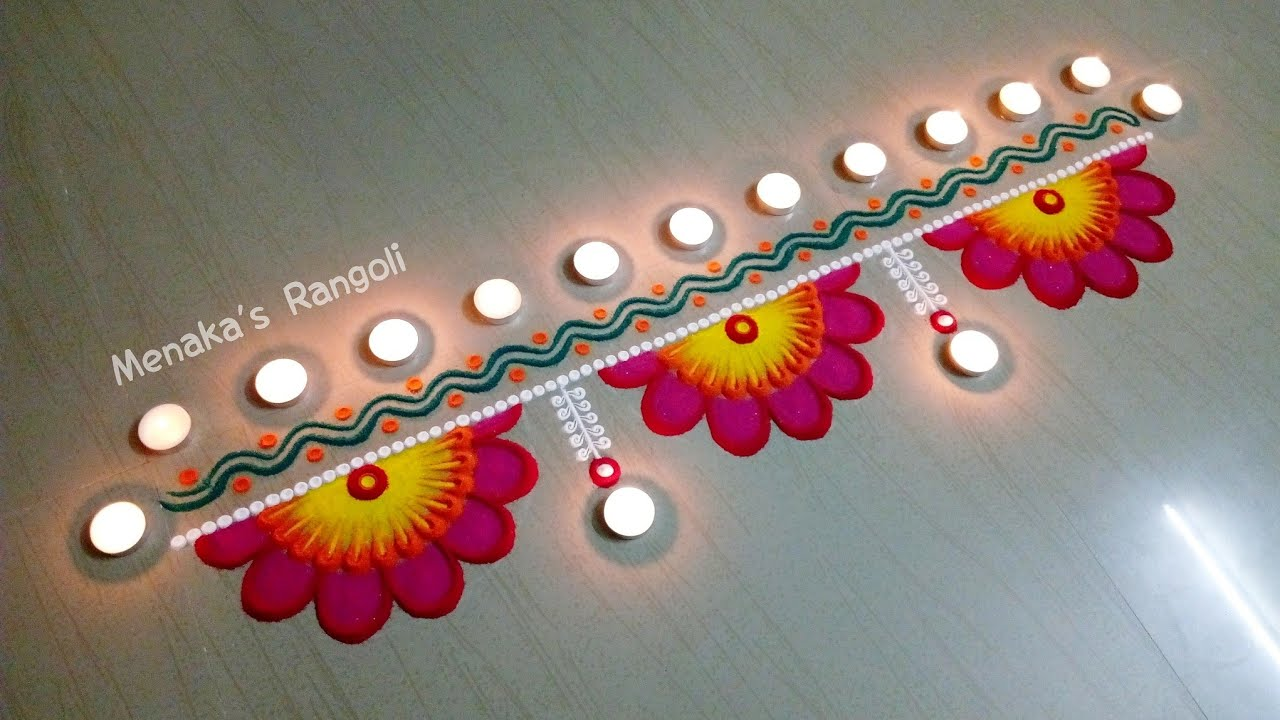 on door border rangoli designs video