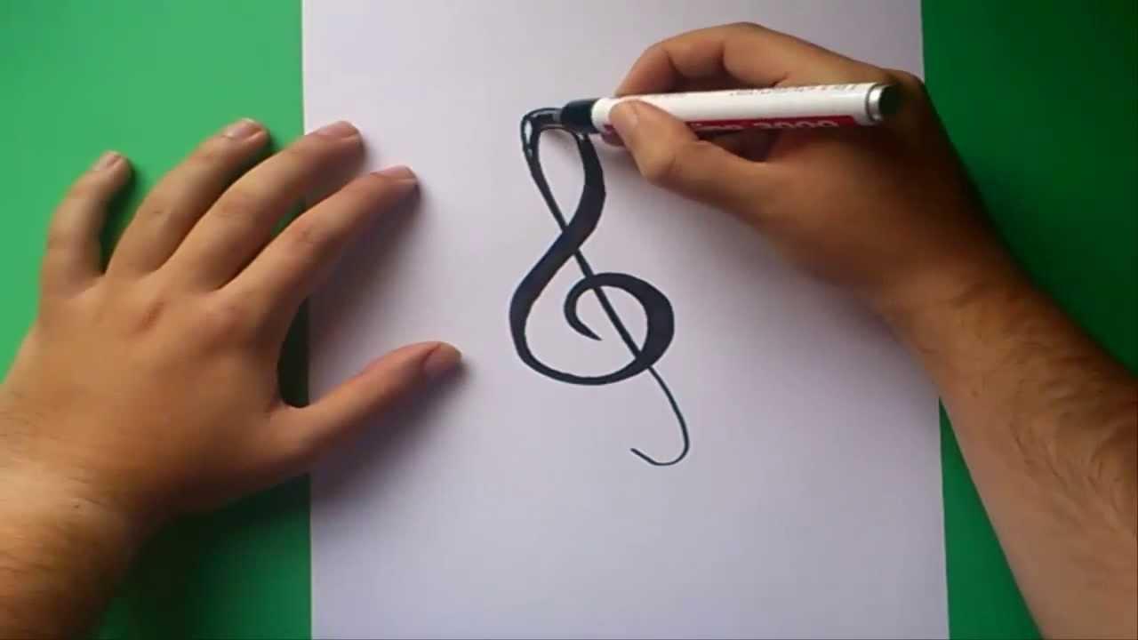 Como dibujar una clave de sol paso a paso | How to draw treble clef ...