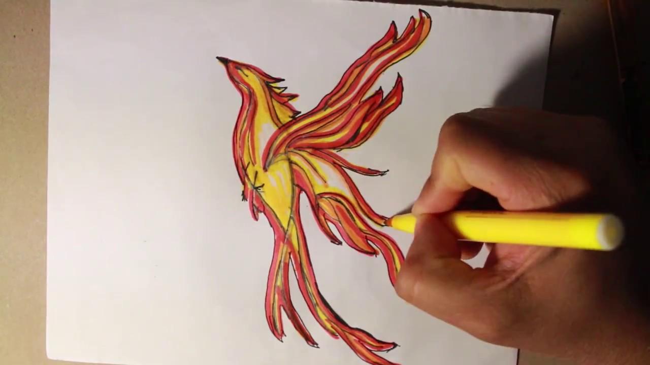 Dibujando Un Ave Fenix Con Trazos Muy Sencillos Youtube