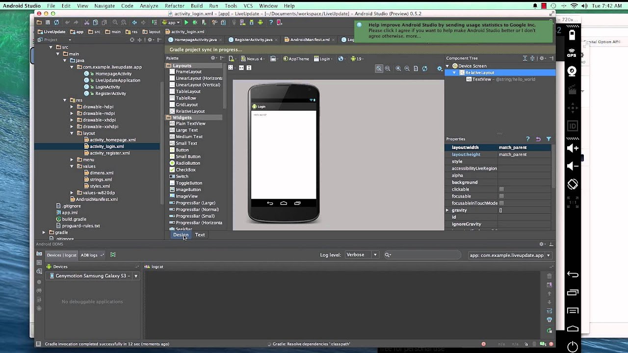 android app development with android studio ide 8 login form youtube