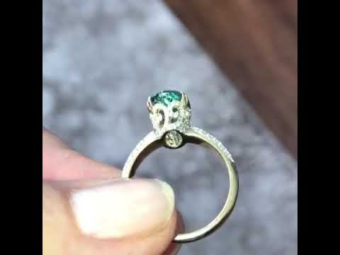 Rare Santa Maria Aquamarine & Diamond 18K Ring