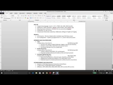How to Write a Resume (Computer Engineering Student)