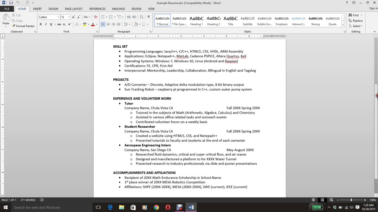 How To Write A Resume Computer Engineering Student Youtube