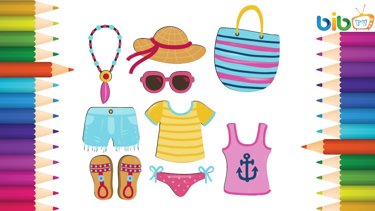 How to Draw Summer Clothes for Kids | Coloring Pages Set ...