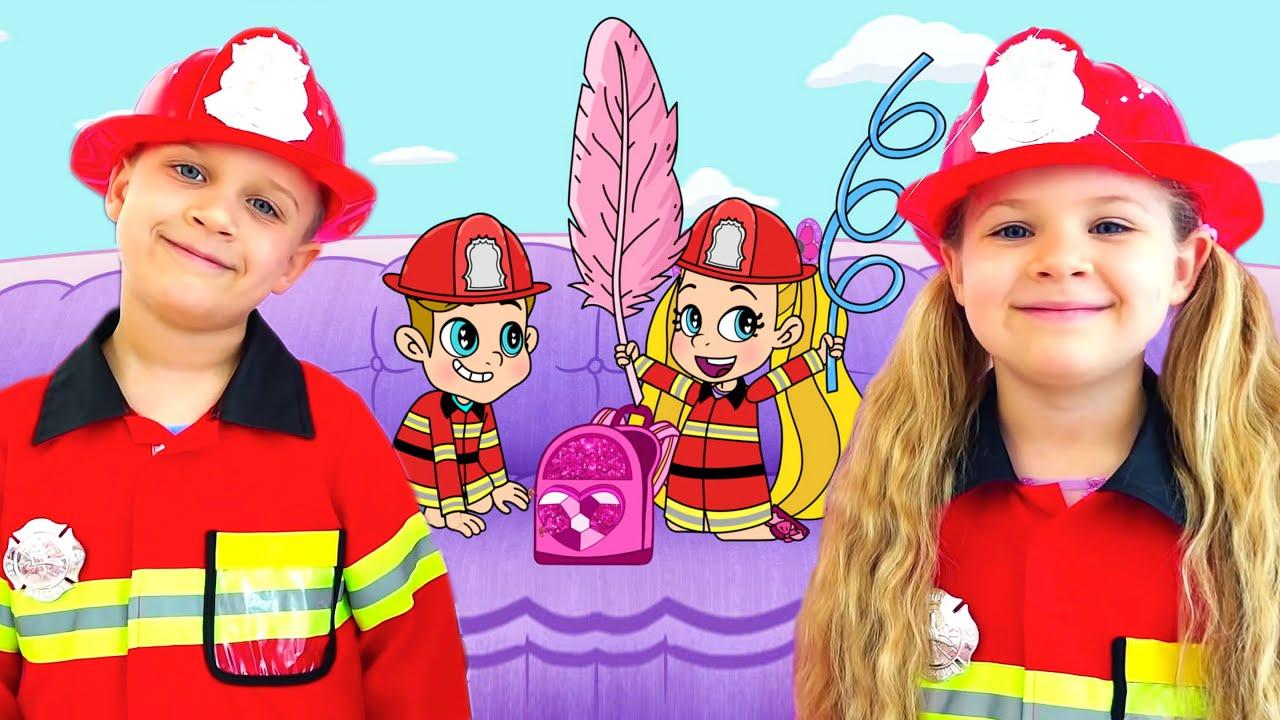Диана и Рома Полицейские и Герои Пожарные Приключения в волшебной игре, Мультик