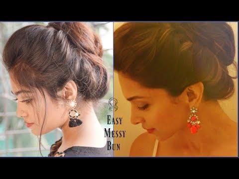 Easy Messy Bun With Front Puff Hairstyle Deepika Padukone Hairdo