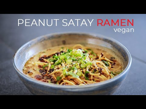 VEGAN PEANUT SATAY RAMEN RECIPE | SO EASY SOUP BROTH!! (ビーガンラーメンの作り方)