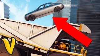 JUST CAUSE 3 FALLING FROM TALLEST BUILDING INTO A TRUCK! :: Just Cause 3 Multiplayer Stunts!