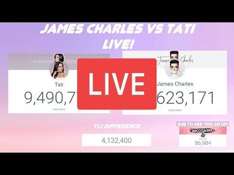 James Charles vs Tati sub count live! (10 mill watch party!) thumbnail