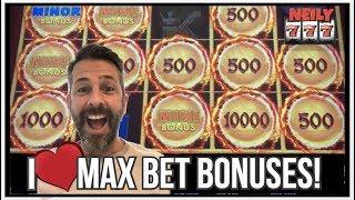 BIG BALLS DROP ON MAX BET!!! LOTS OF BONUSES ON LOTS OF LIGHTNING LINK SLOTS!!