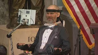 Saints hero Steve Gleason talks after receiving the Congressional Gold Medal
