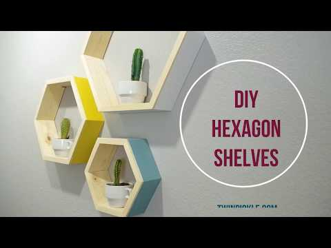 DIY Floating Hexagon Shelves