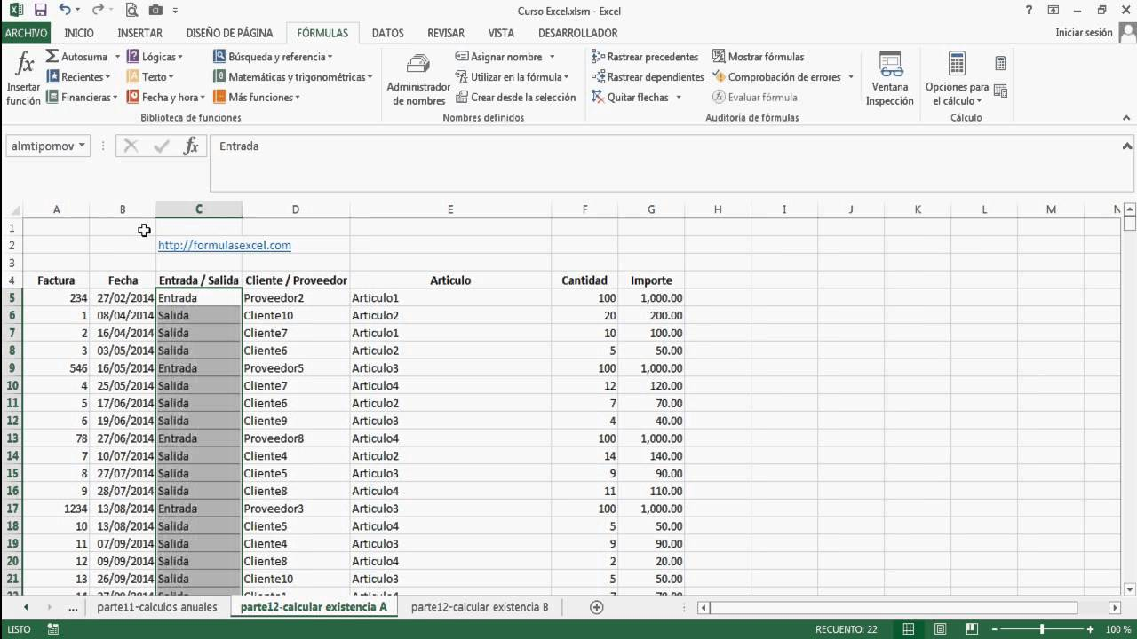 Curso Excel Parte 7 Formula Para Calcular Existencia Youtube