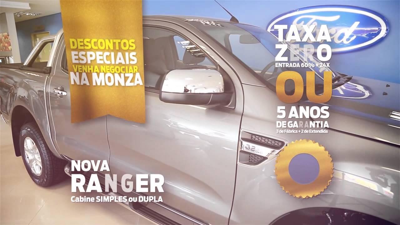 Nova ranger com taxa zero e 5 anos de garantia na ford monza
