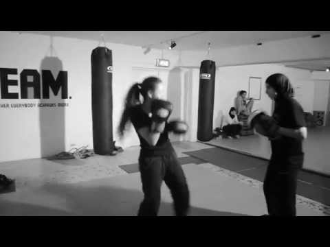Kickboxing with Sanaa Bouzeryouh in the Gym Basement