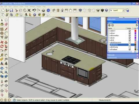 Sketchup kitchen design using dynamic component cabinets part 2 of 3 youtube Kitchen design software google sketchup