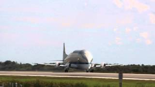 Nasa Super Guppy takes off from the Shuttle Landing Facility