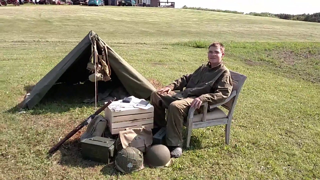 C&ing In A WW2 Pup Tent & Camping In A WW2 Pup Tent - YouTube