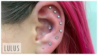 8 Piercings On 1 Ear!!