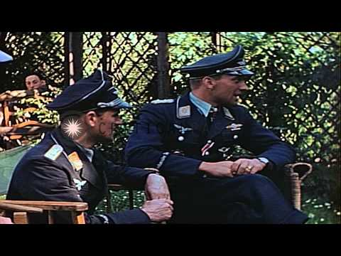 Ace German Air Force Stuka dive bomber pilot Hans-Ulrich Rudel in a garden with A...HD Stock Footage