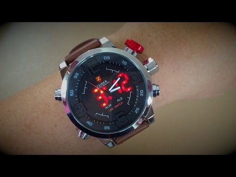 Zeiger Mens W297 Big LED Dual Time Stainless Steel Digital & Analog Sport Wrist Watch