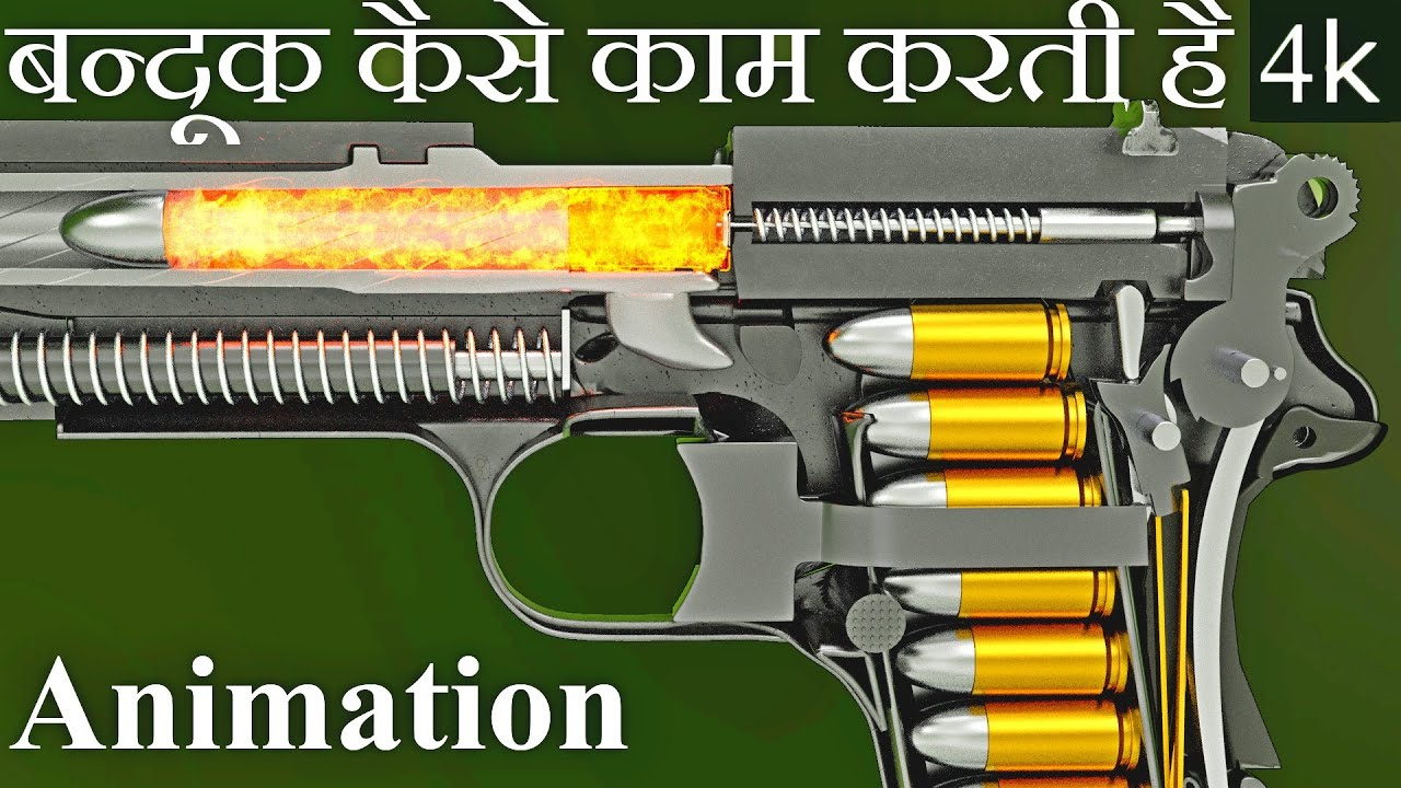 बन्दूक कैसे काम करती है | How Gun Works in Hindi (Animation)